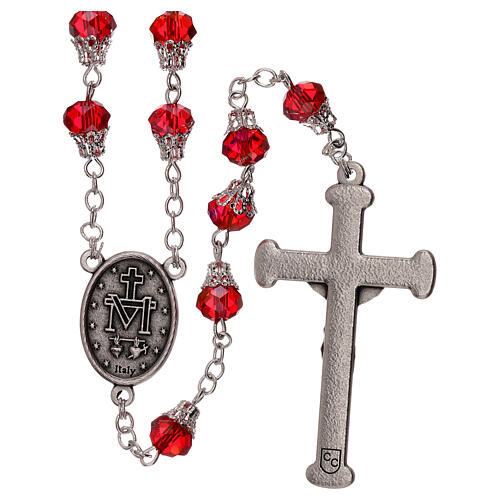 Rosary with glossy red beads 7 mm 2