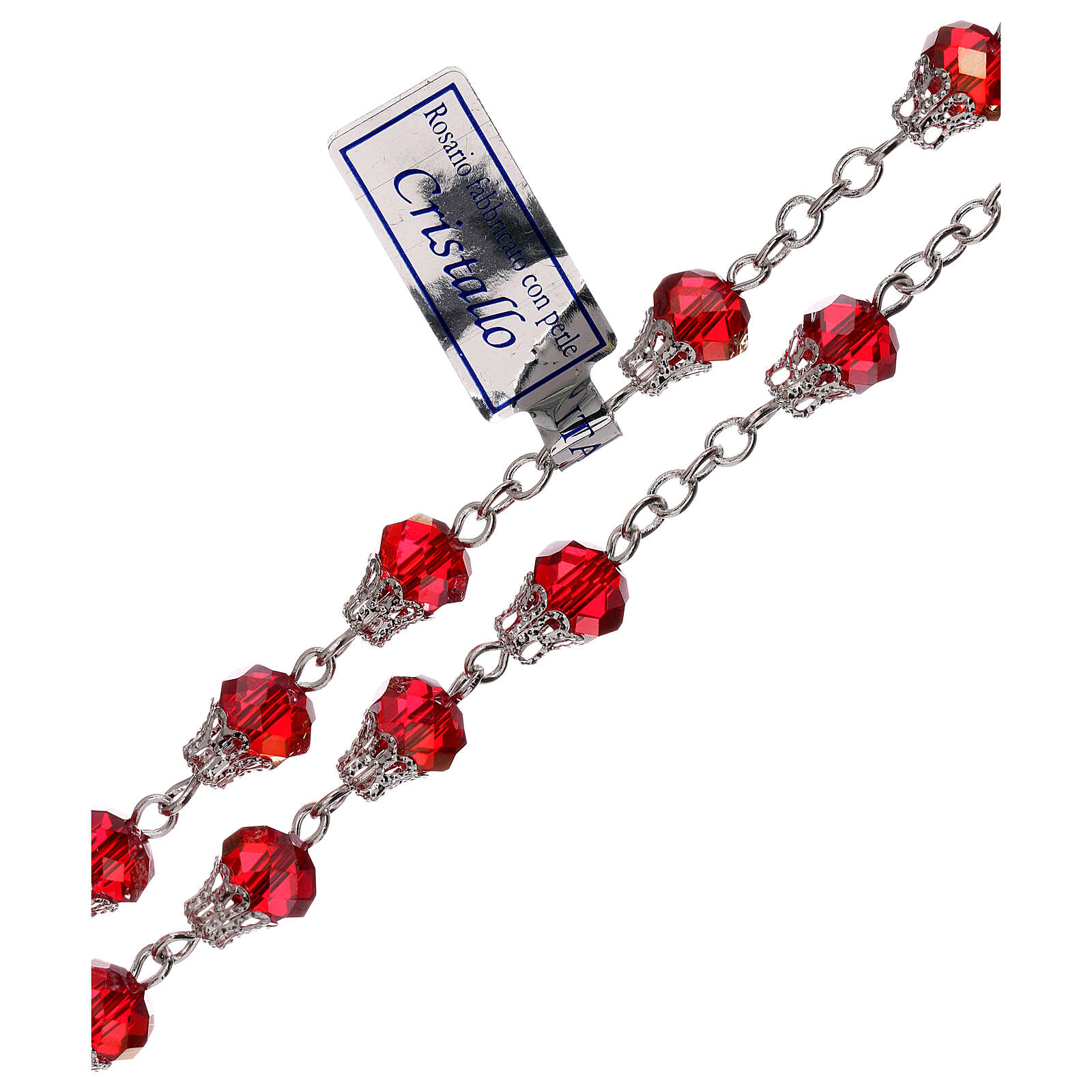 Chapelet cristal brillant rouge grains 5 mm 4