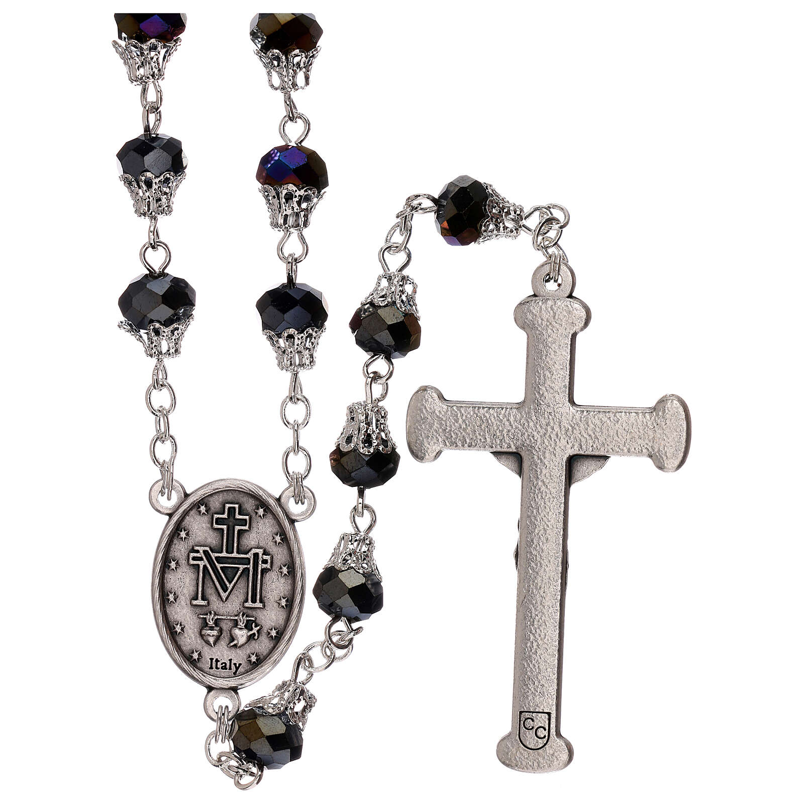Rosary with glossy purple beads 5 mm 4