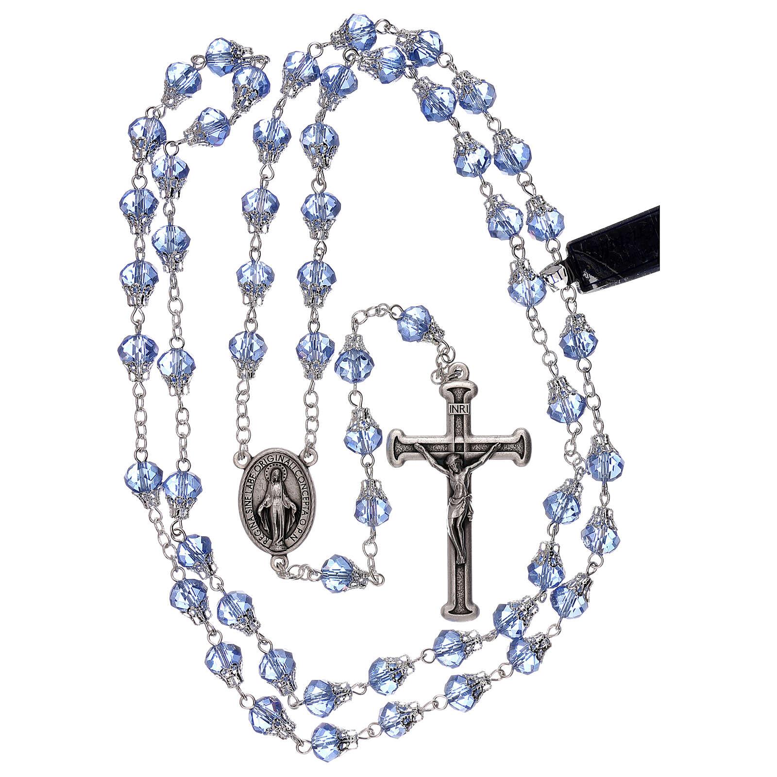 Rosario lúcido cristal azul granos 5 mm 4