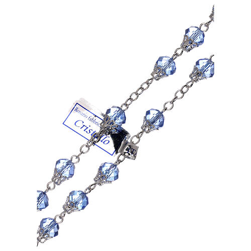 Rosario lúcido cristal azul granos 5 mm 3