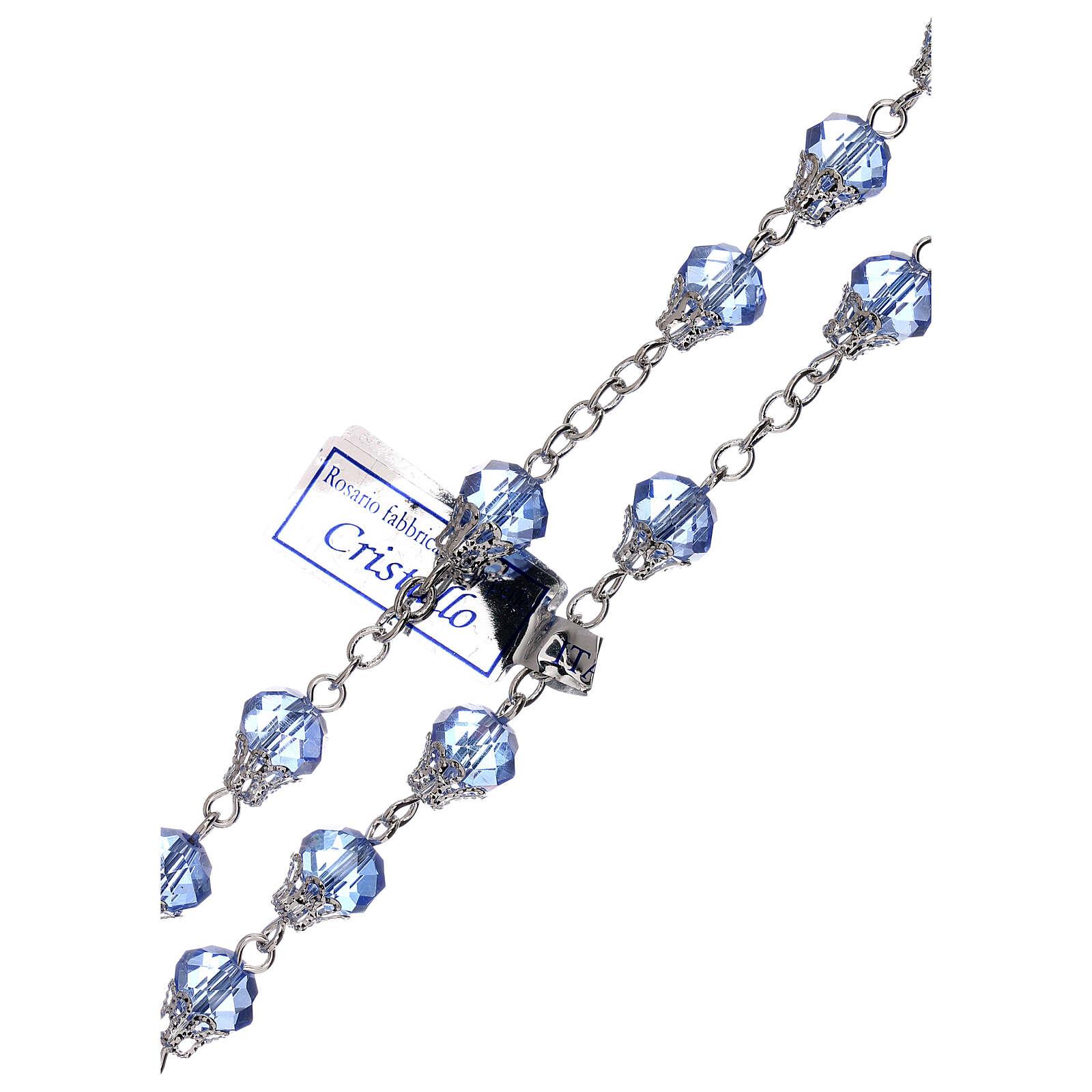 Chapelet brillant cristal bleu grains 5 mm 4