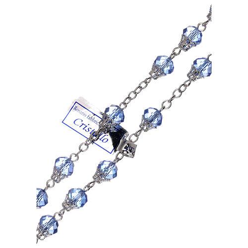 Chapelet brillant cristal bleu grains 5 mm 3