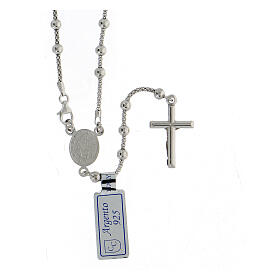 Collana rosario Madonna Misericordiosa argento 925 grani 2 mm
