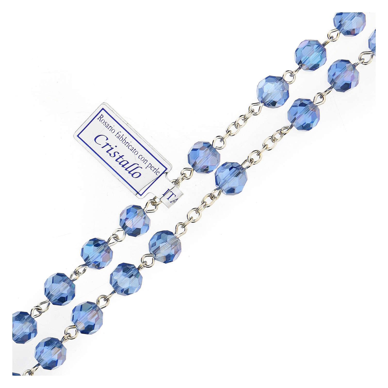 Rosario cristal azul granos 5 mm Virgen Misericordiosa 4