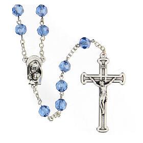 Rosario cristal azul granos 5 mm Virgen Misericordiosa s1