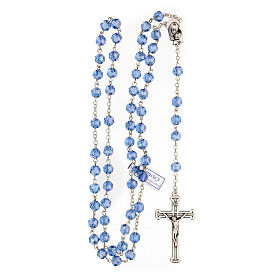 Rosario cristal azul granos 5 mm Virgen Misericordiosa s4