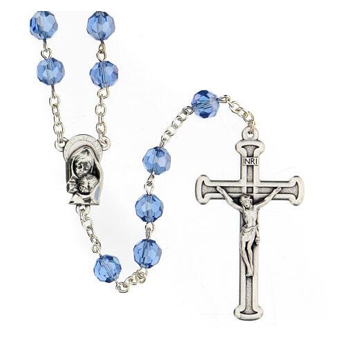 Rosario cristal azul granos 5 mm Virgen Misericordiosa 1