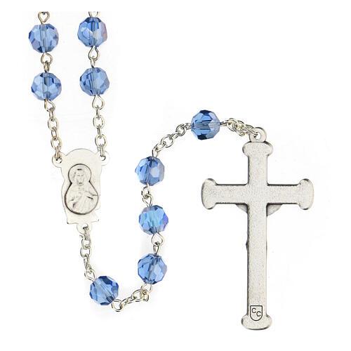 Rosario cristal azul granos 5 mm Virgen Misericordiosa 2