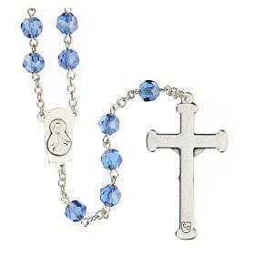 Rosario cristallo azzurro grani 5 mm Madonna Misericordiosa s2