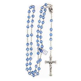Rosario cristallo azzurro grani 5 mm Madonna Misericordiosa s4