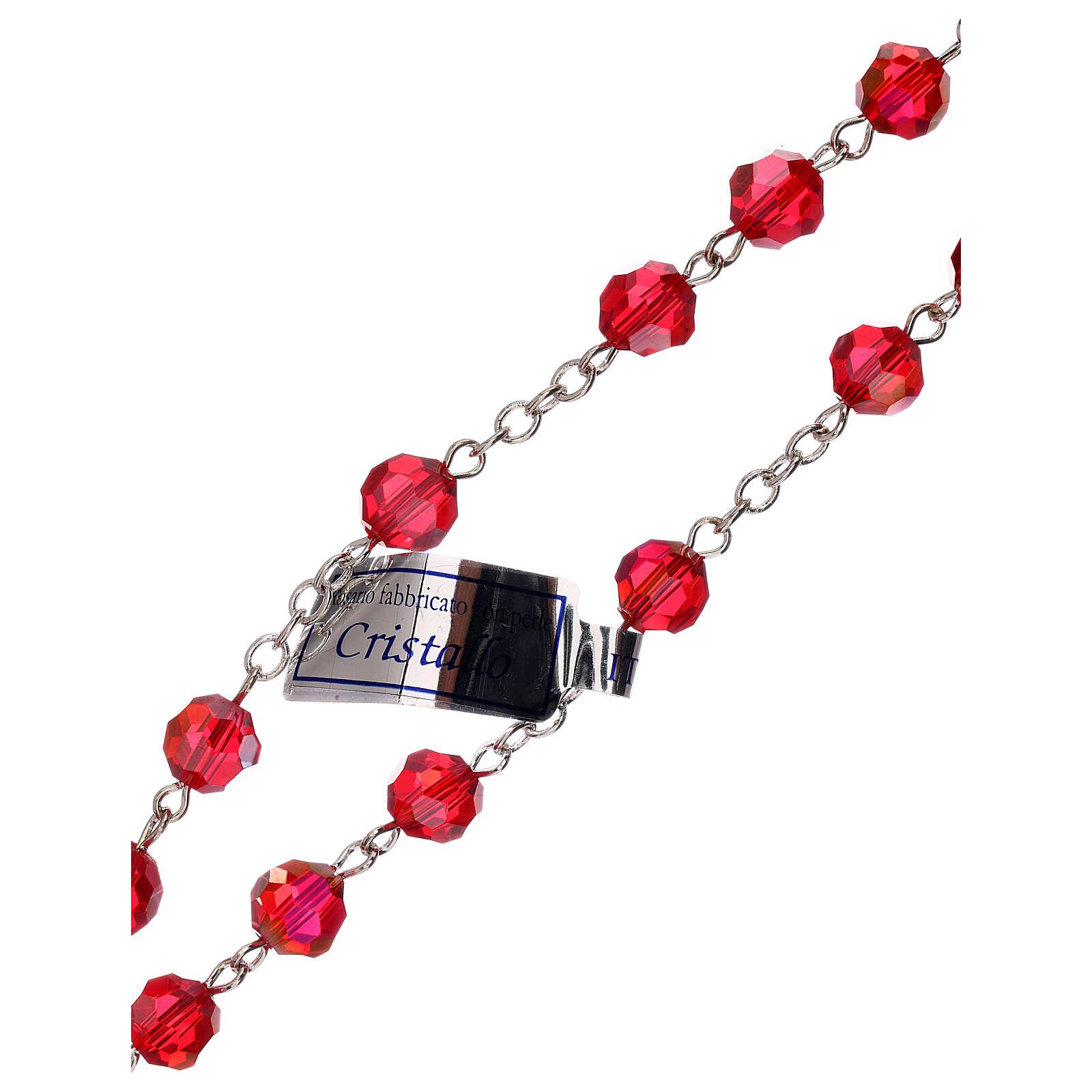 Rosario cristal rojo granos 5 mm Virgen Misericordiosa 4