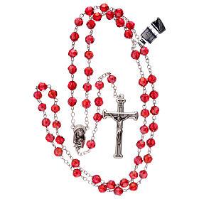 Rosario cristal rojo granos 5 mm Virgen Misericordiosa s4