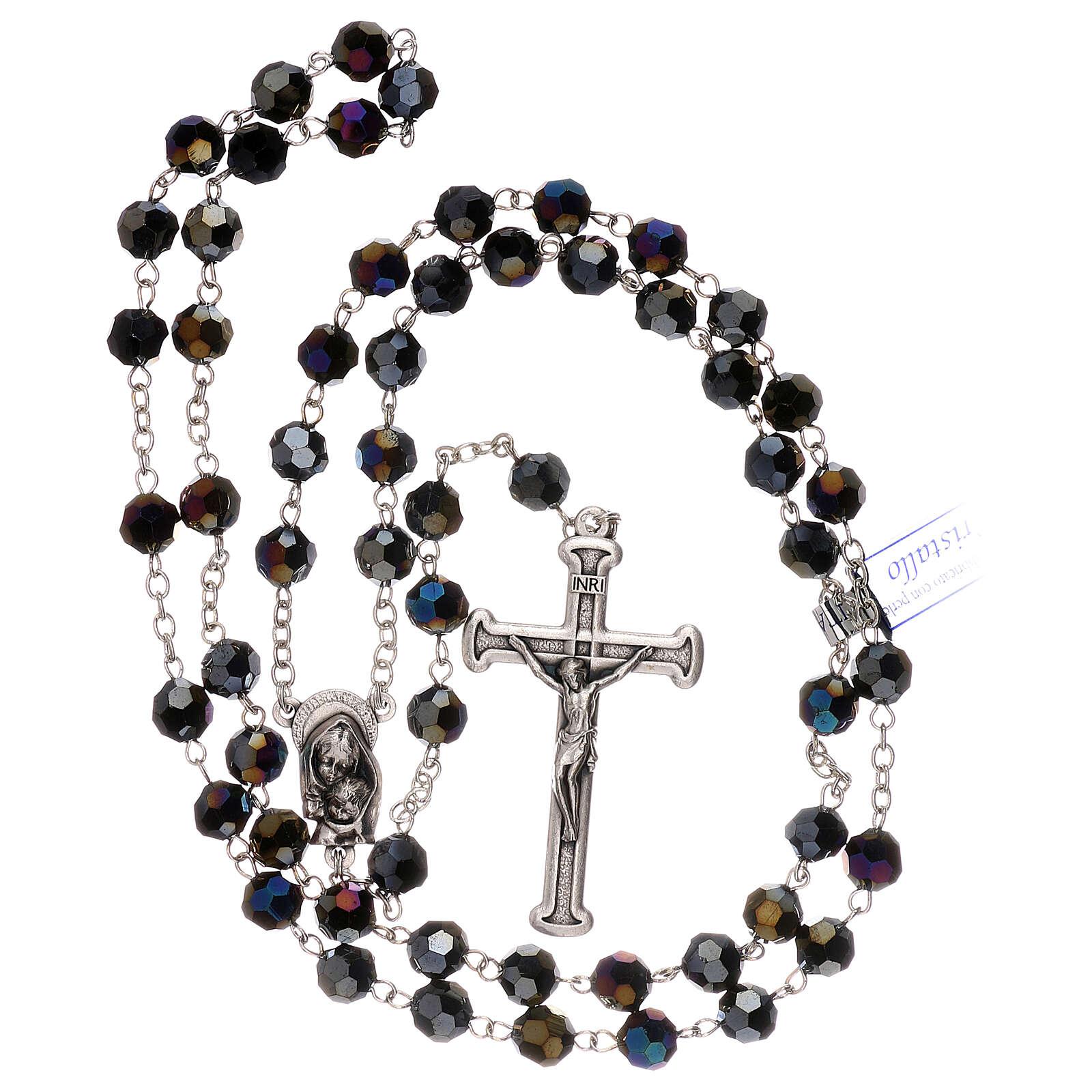 Rosario cristal violeta granos 5 mm Virgen Misericordiosa 4