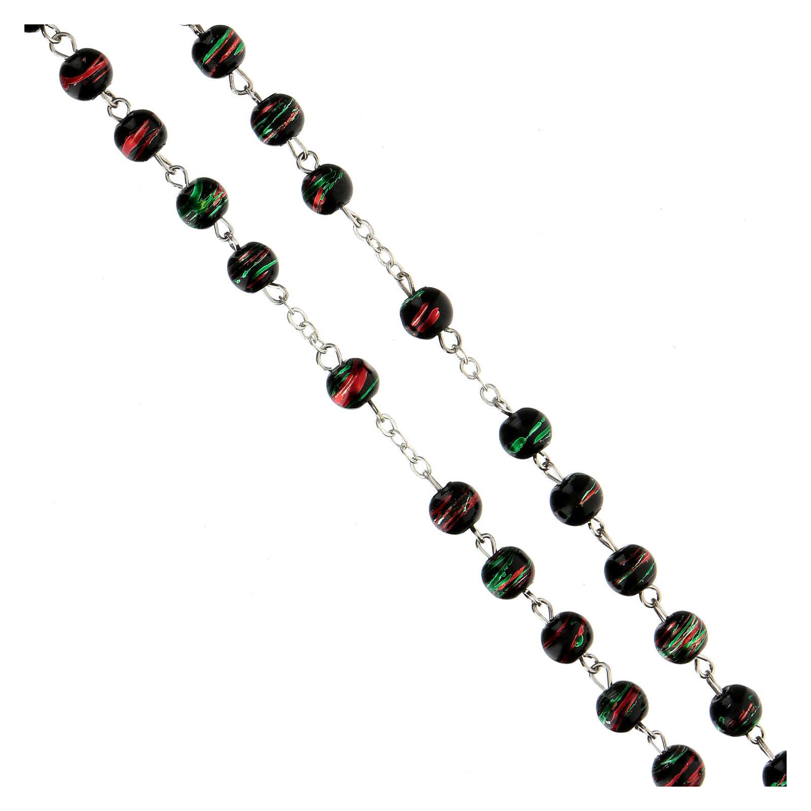 Rosario con granos de vidrio negro 6 mm 4
