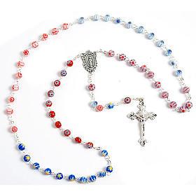 Multicoloured Murano style glass rosary s1