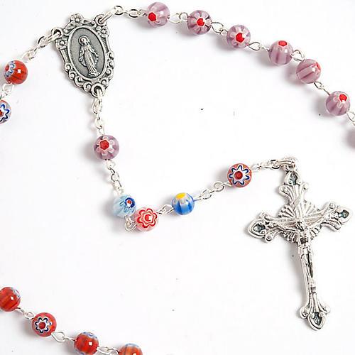 Multicoloured Murano style glass rosary 3