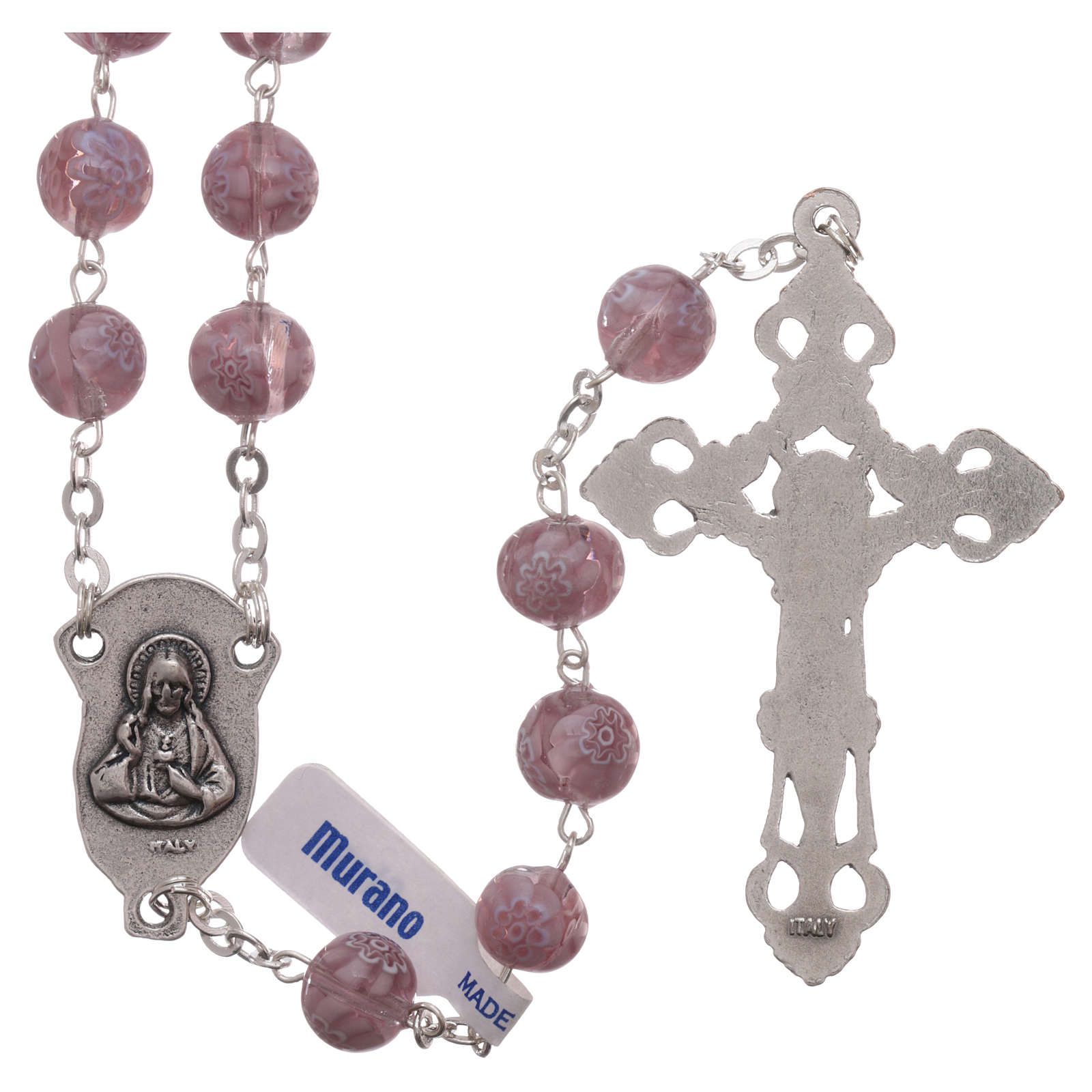 Rosary beads in Murano glass style amethyst colour 8mm 4
