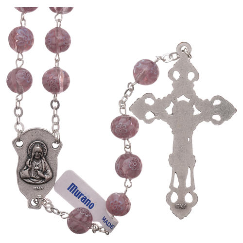 Rosary beads in Murano glass style amethyst colour 8mm 2