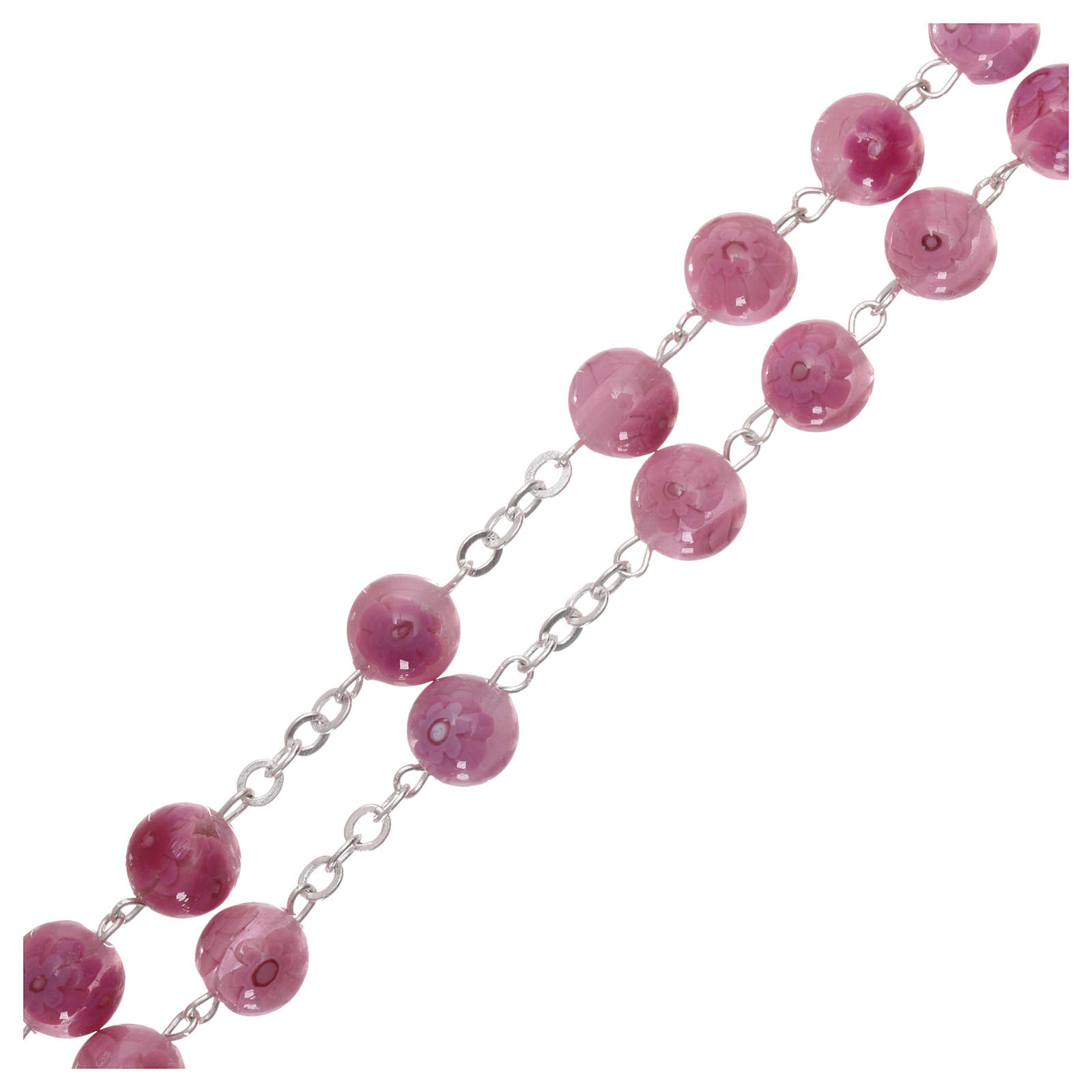 Rosary beads in pink Murano glass style with floral decorations 8mm 4