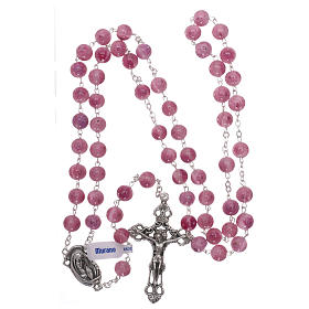 Rosary beads in pink Murano glass style with floral decorations 8mm s4
