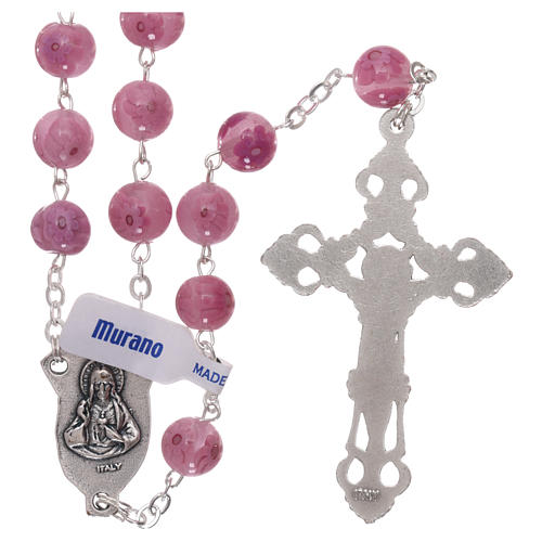 Rosary beads in pink Murano glass style with floral decorations 8mm 2