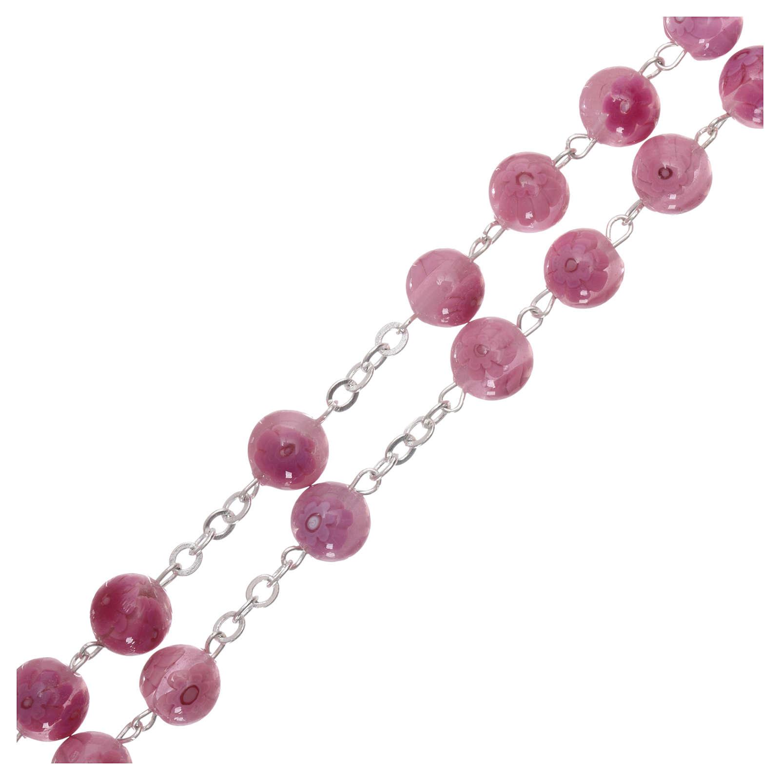 Rosario in vetro di Murano rosa con motivi floreali  8 mm 4