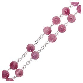 Rosario in vetro di Murano rosa con motivi floreali  8 mm s3