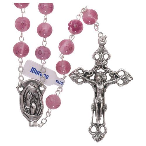 Rosario in vetro di Murano rosa con motivi floreali  8 mm 1