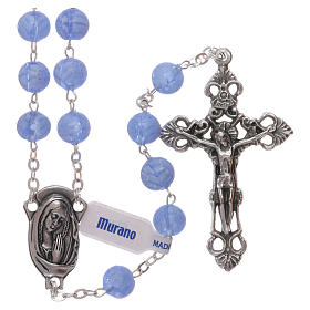 Murano glass rosaries: Rosary beads in light blue Murano glass style with floral decorations 8mm