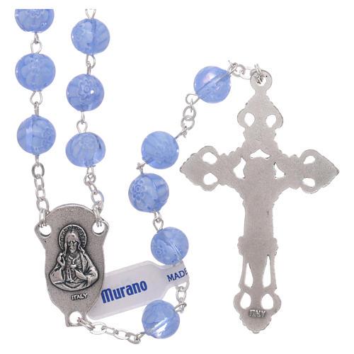 Rosario in vetro di Murano celeste con motivi floreali delle perle di 8 mm 2