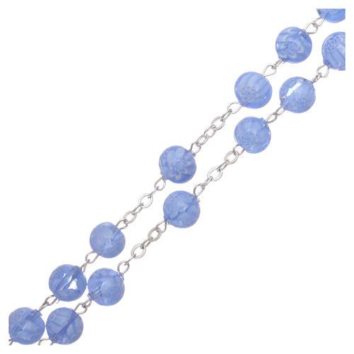 Rosario in vetro di Murano celeste con motivi floreali delle perle di 8 mm 3