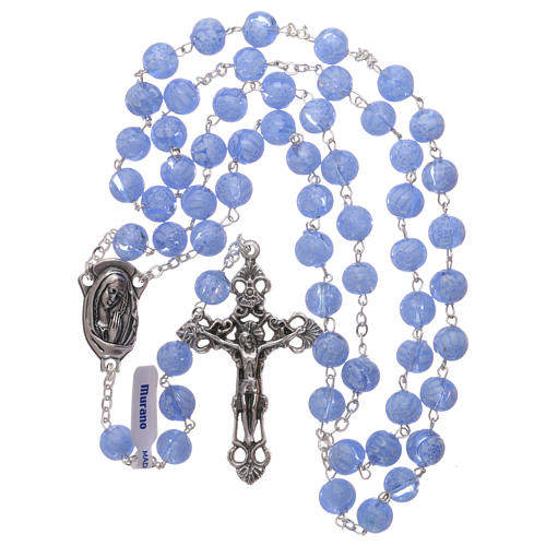 Rosario in vetro di Murano celeste con motivi floreali delle perle di 8 mm 4