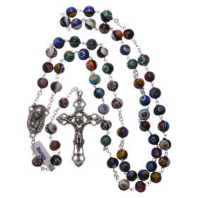 Rosary in Murano glass with multicolour grains, black base 8 mm s4