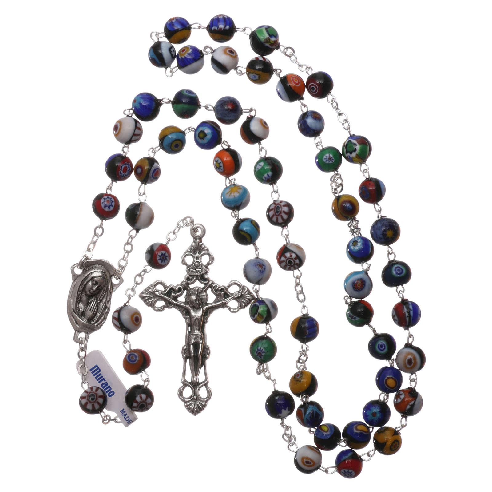 Rosario de vidrio de Murano negro con varias fantasías de las cuentas de 8 mm 4