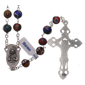 Rosario in vetro di Murano arlecchino nero con varie fantasie delle perle di 8 mm s2