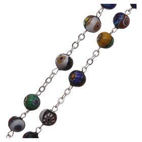 Rosario in vetro di Murano arlecchino nero con varie fantasie delle perle di 8 mm s3