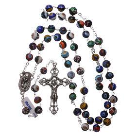 Rosario in vetro di Murano arlecchino nero con varie fantasie delle perle di 8 mm s4