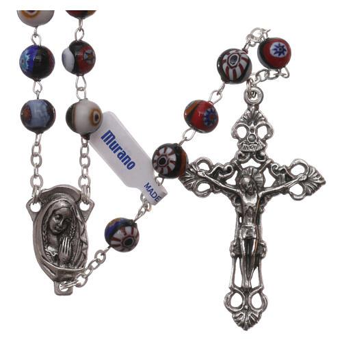 Rosario in vetro di Murano arlecchino nero con varie fantasie delle perle di 8 mm 1