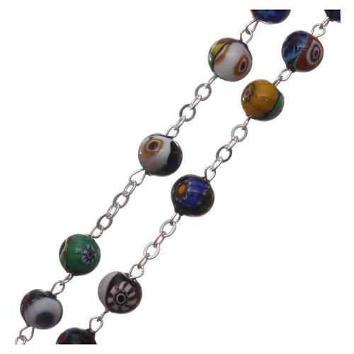 Rosario in vetro di Murano arlecchino nero con varie fantasie delle perle di 8 mm 3