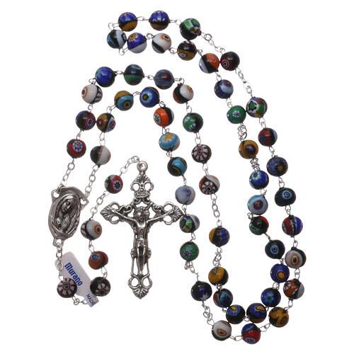 Rosario in vetro di Murano arlecchino nero con varie fantasie delle perle di 8 mm 4