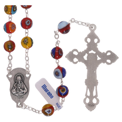 Rosary in Murano glass with multicolour grains, red base 8 mm 2