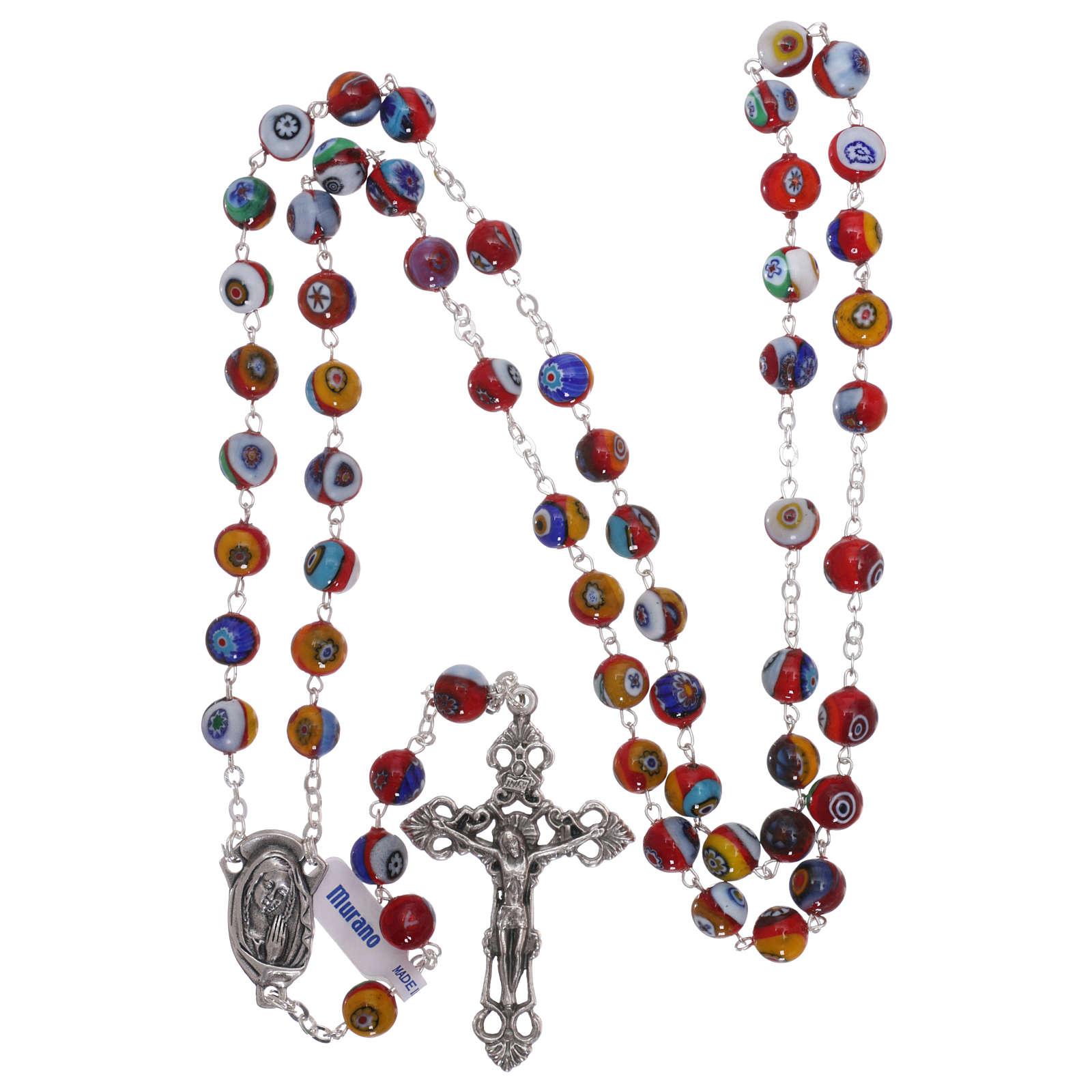 Rosario in vetro di Murano arlecchino rosso con varie fantasie dei grani 8 mm 4