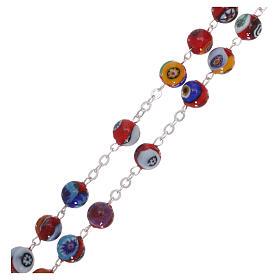 Rosario in vetro di Murano arlecchino rosso con varie fantasie dei grani 8 mm s3