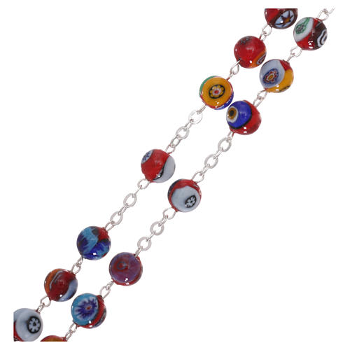 Rosario in vetro di Murano arlecchino rosso con varie fantasie dei grani 8 mm 3