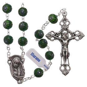 Murano glass rosaries: Rosary beads in green Murano glass style with floral decorations 8mm