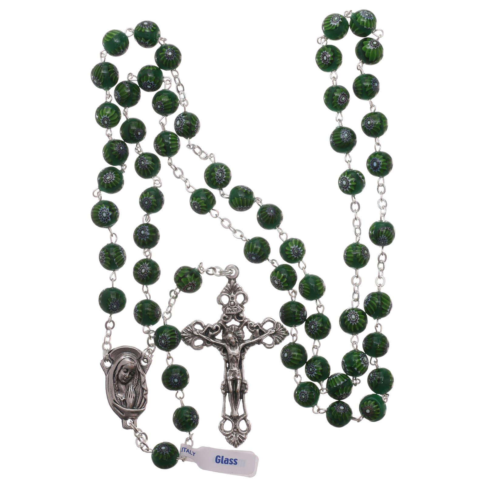 Rosario de vidrio de Murano verde con motivos florales de los granos 8 mm 4
