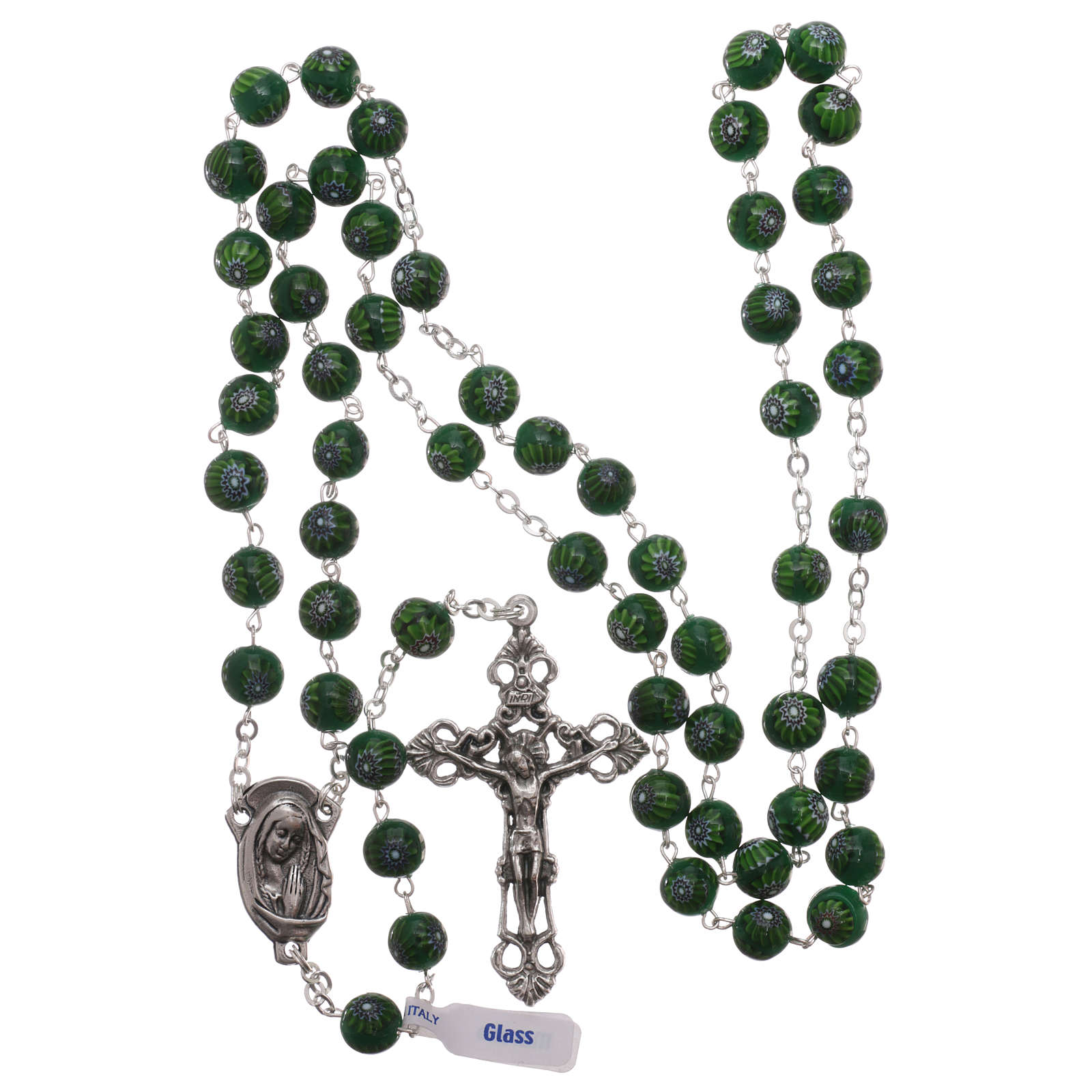 Green Murano glass style rosary beads with floral decorations, 8mm 4