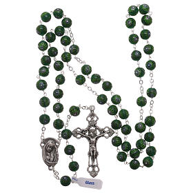 Green Murano glass style rosary beads with floral decorations, 8mm s4