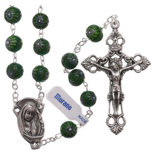 Green Murano glass style rosary beads with floral decorations, 8mm 1